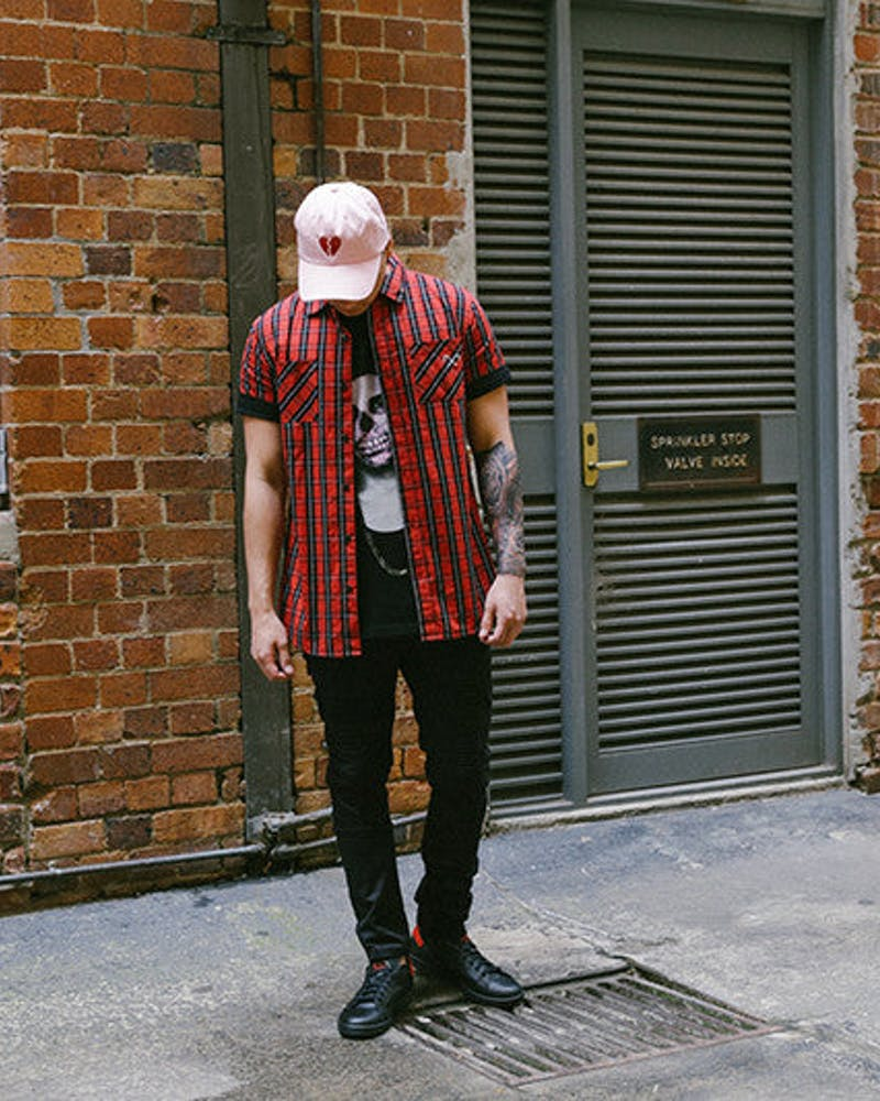 Saint Check SS Button up Dark Red/red He