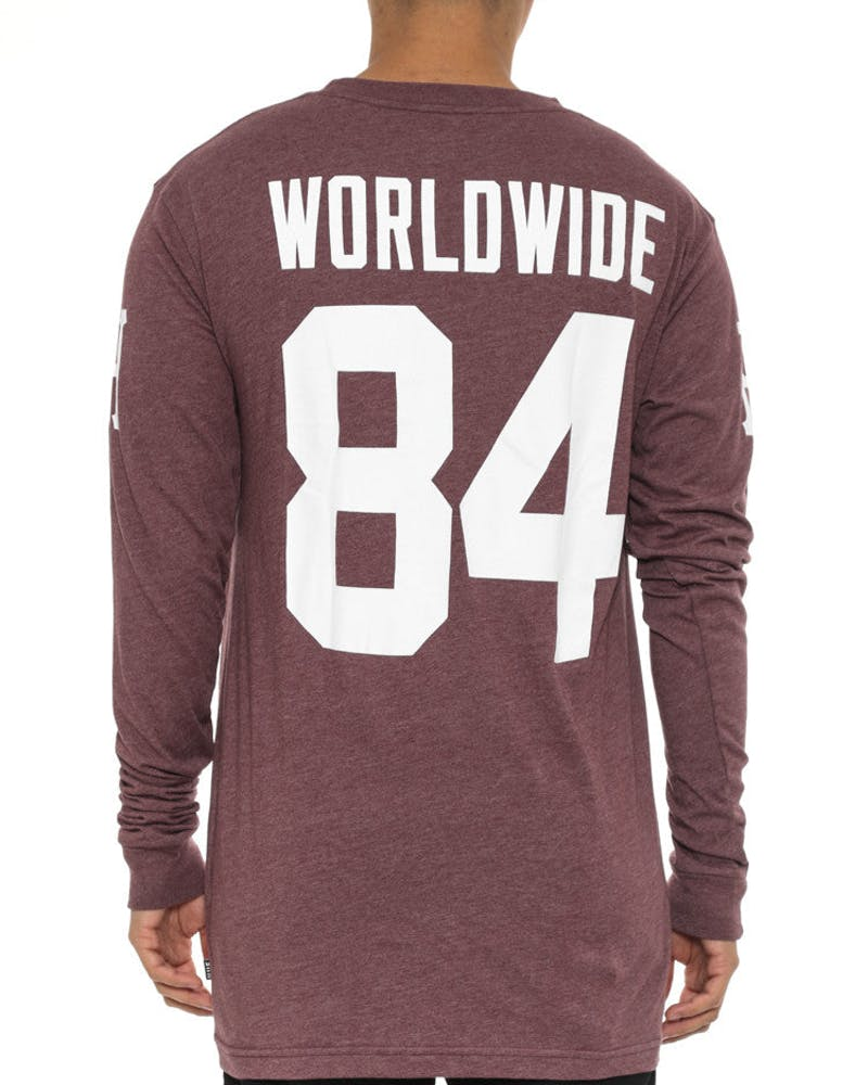 Audible Long Sleeve Tee Burgundy/white