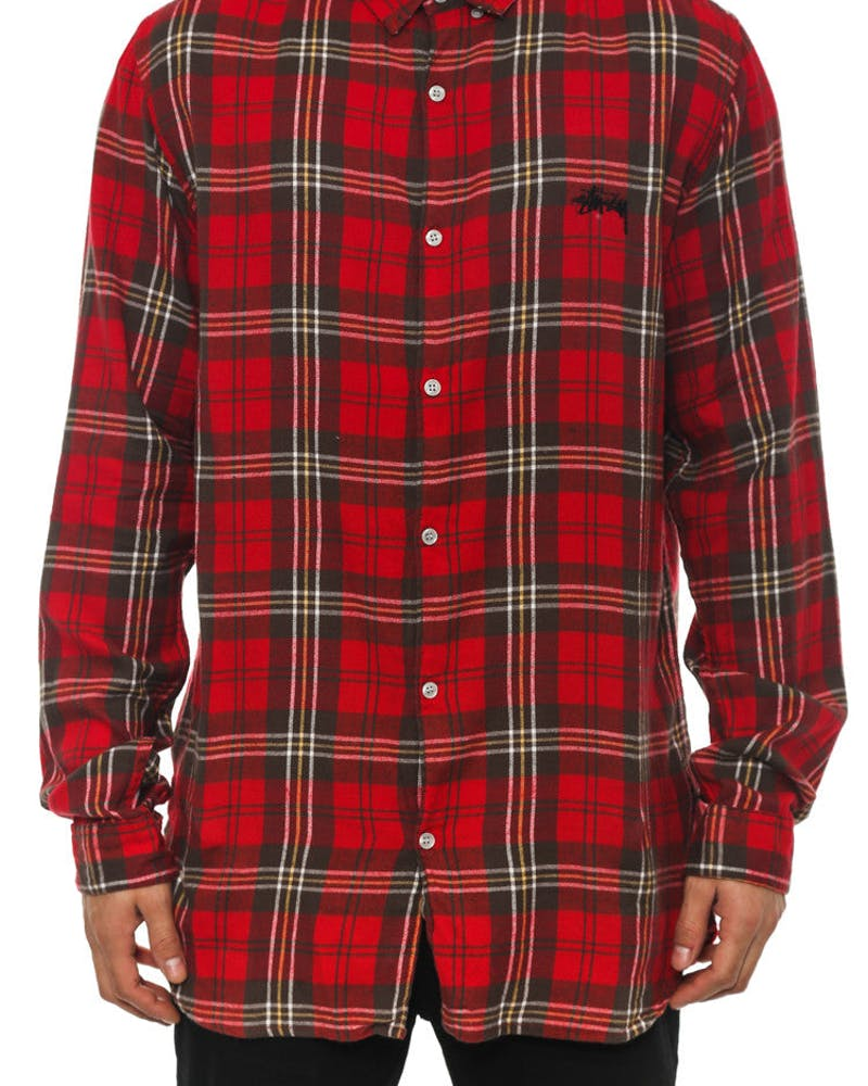 Watts Check Tall Long Sleeve B-up Red