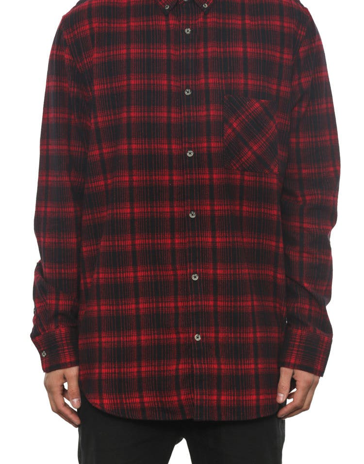 Seven Foot Long Sleeve Button up Red