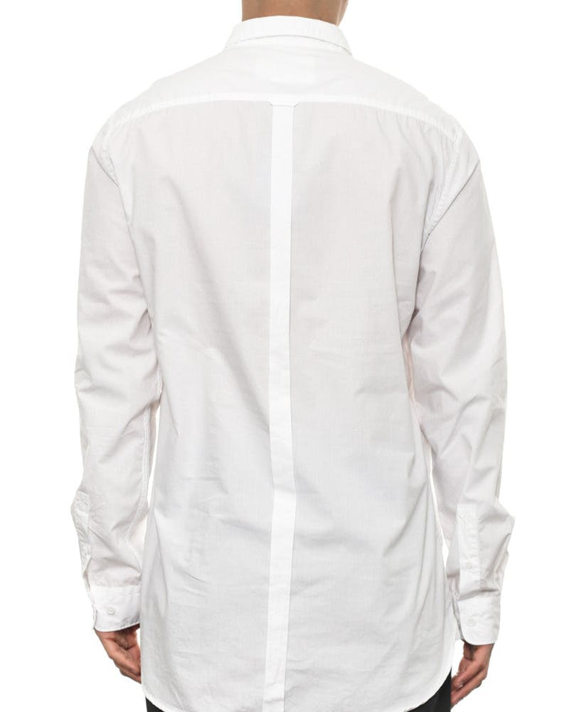 Tuck Collar Long Sleeve Button up White