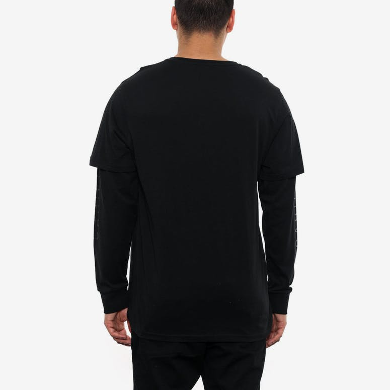 Logo Double Sleeve Long Sleeve Tee Black