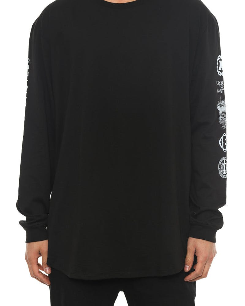 Silver Coin Long Sleeve Scallop T Black/silver