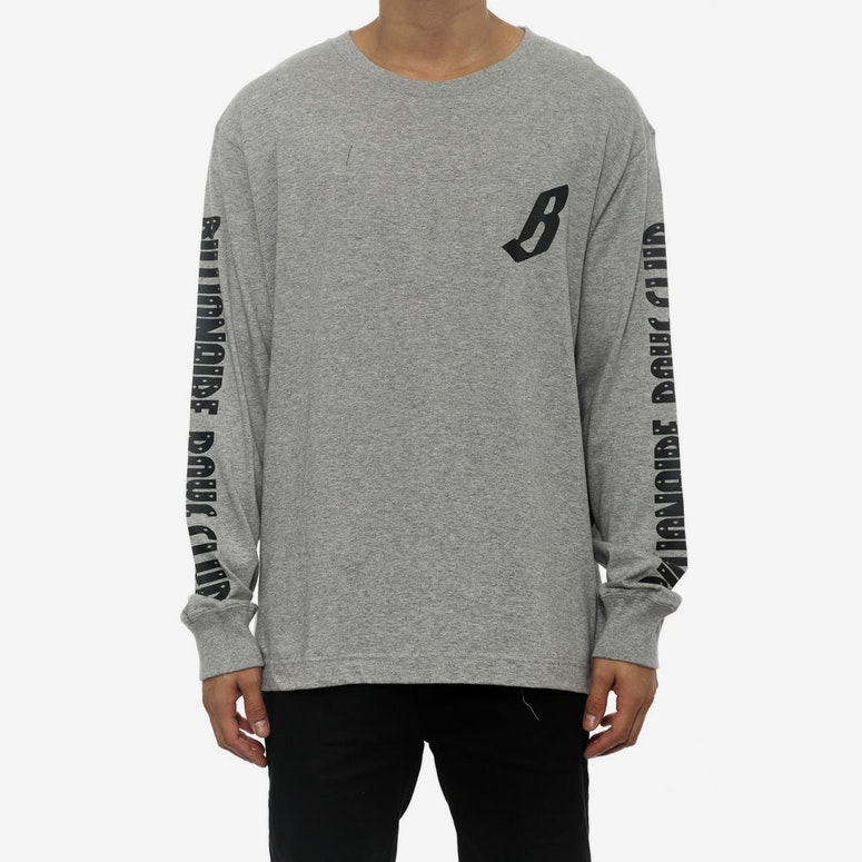 B Logo Long Sleeve Tee Grey/black
