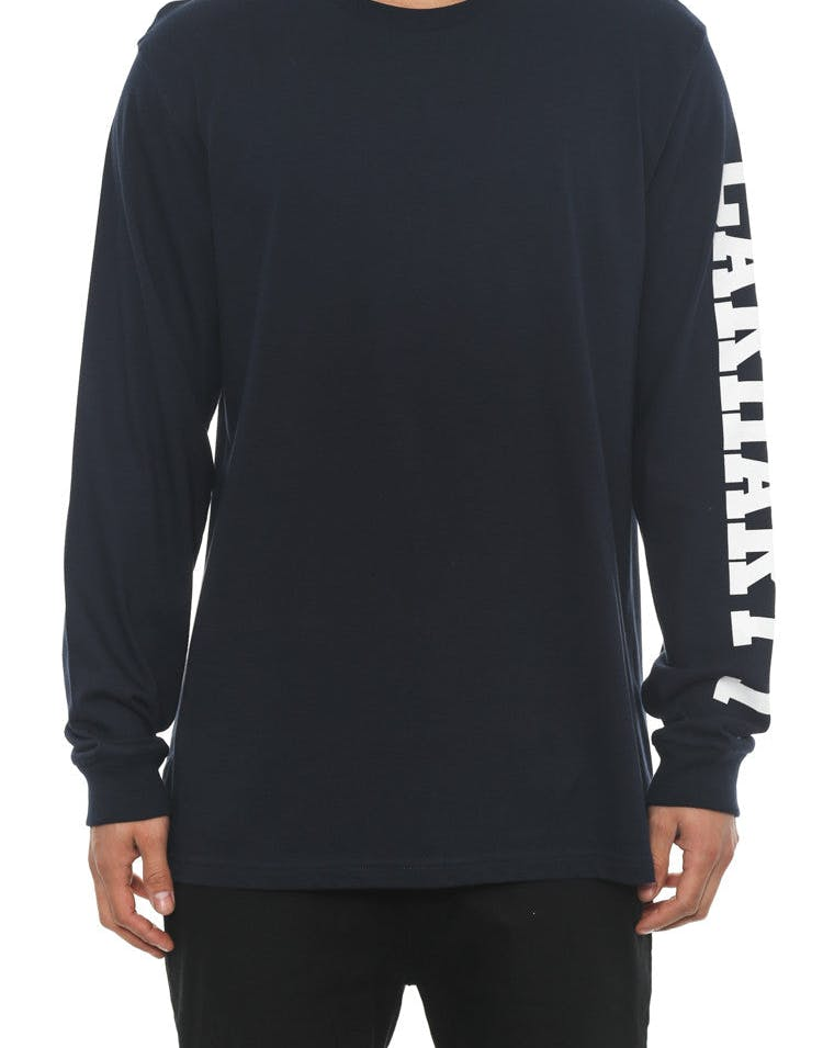 College Left Long Sleeve Tee Navy/white