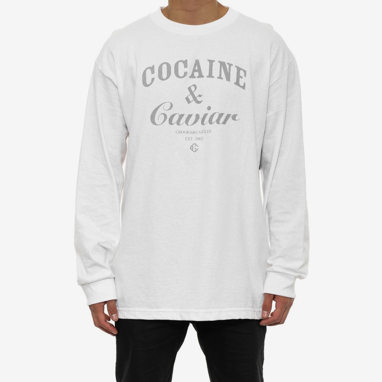 Cocaine & Caviar Long Sleeve Tee White/3m Reflec