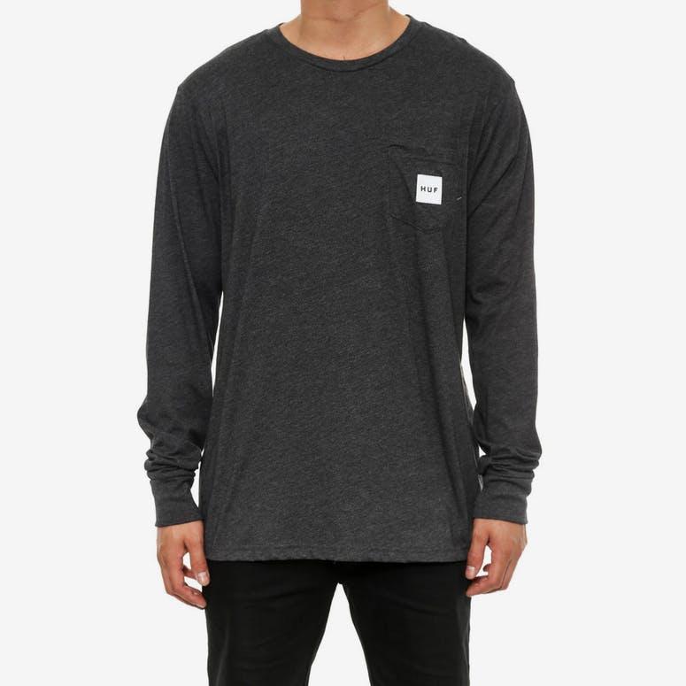 a5795365bde Huf Box Logo Long Sleeve Pocket Tee Charcoal Heathe – Culture Kings