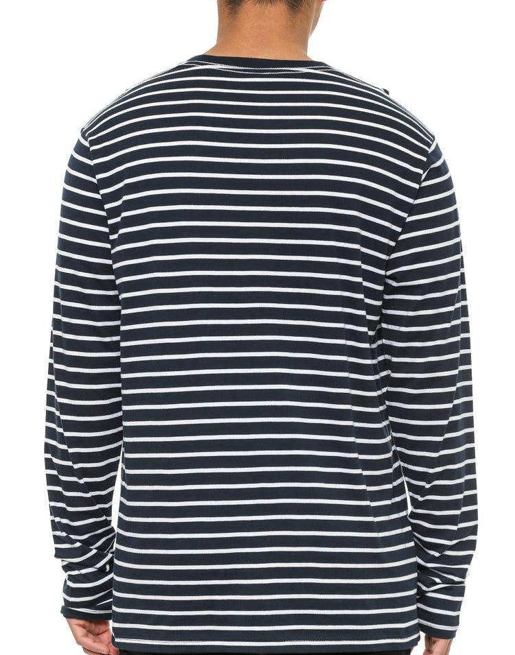 Match Stripe Long Sleeve Tee Navy/white