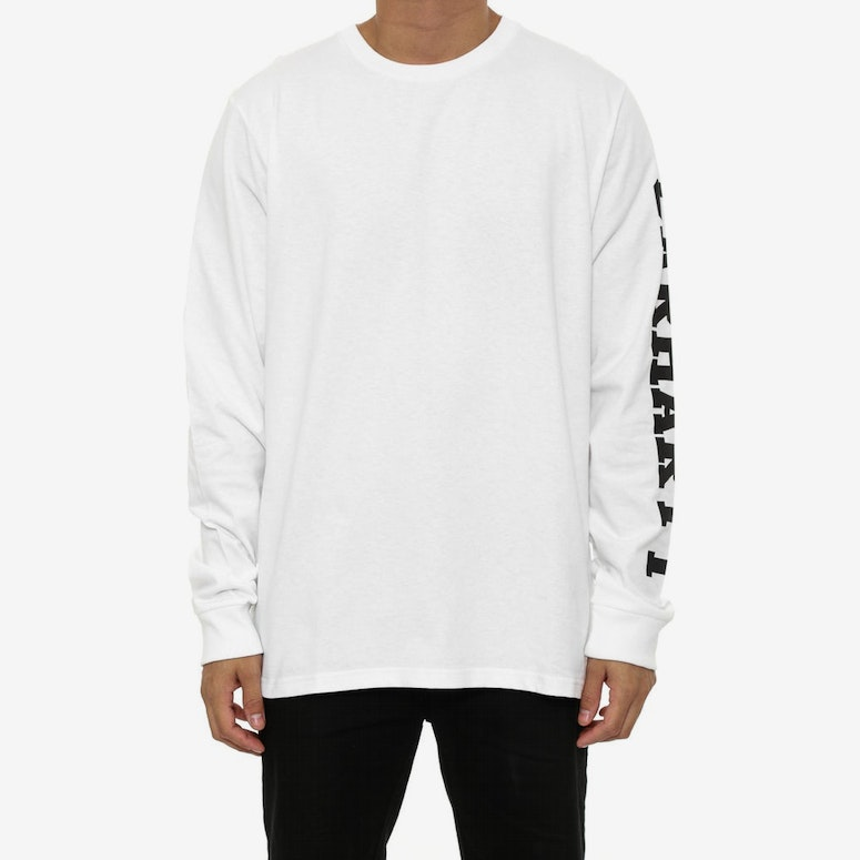 College Left Long Sleeve Tee White/black