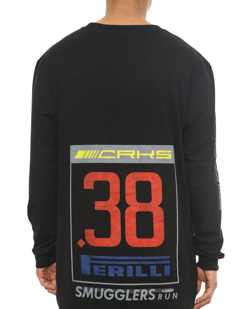 Crks Racing Long Sleeve Scallop T Black/multi-col
