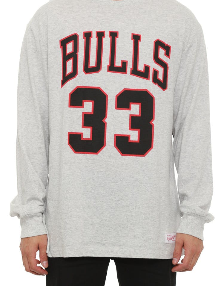 Bulls Pippen #33 Long Sleeve Tee Grey/black