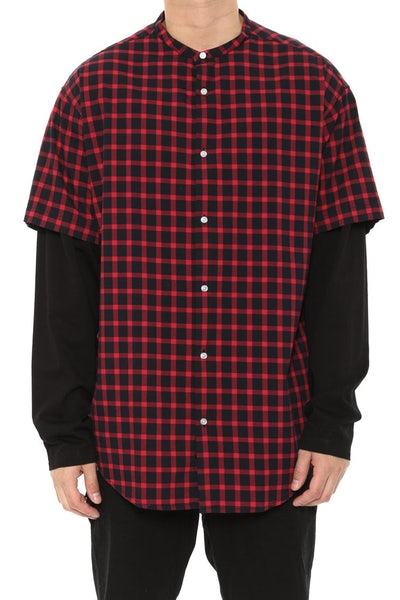 Inner Ring Double Sleeve Button Up Crimson/black