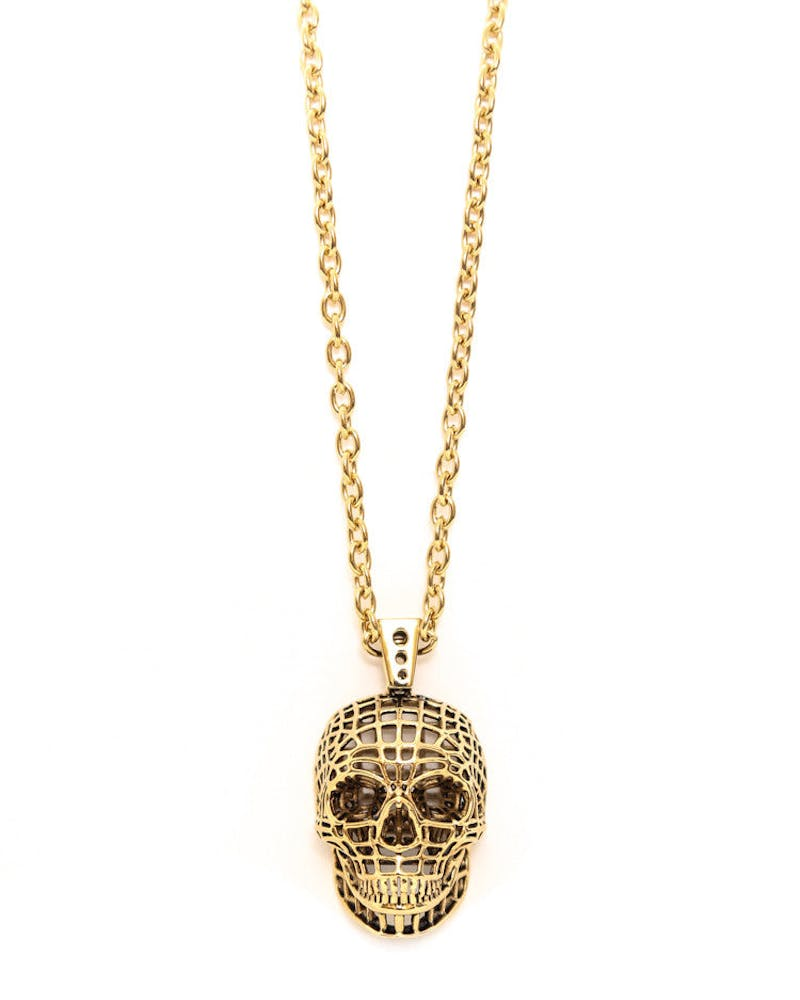 the Mesh Skull Necklace Gold