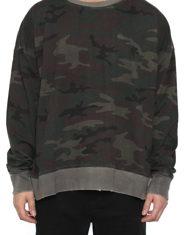 Oversized Sprayed Crew Neck Camo