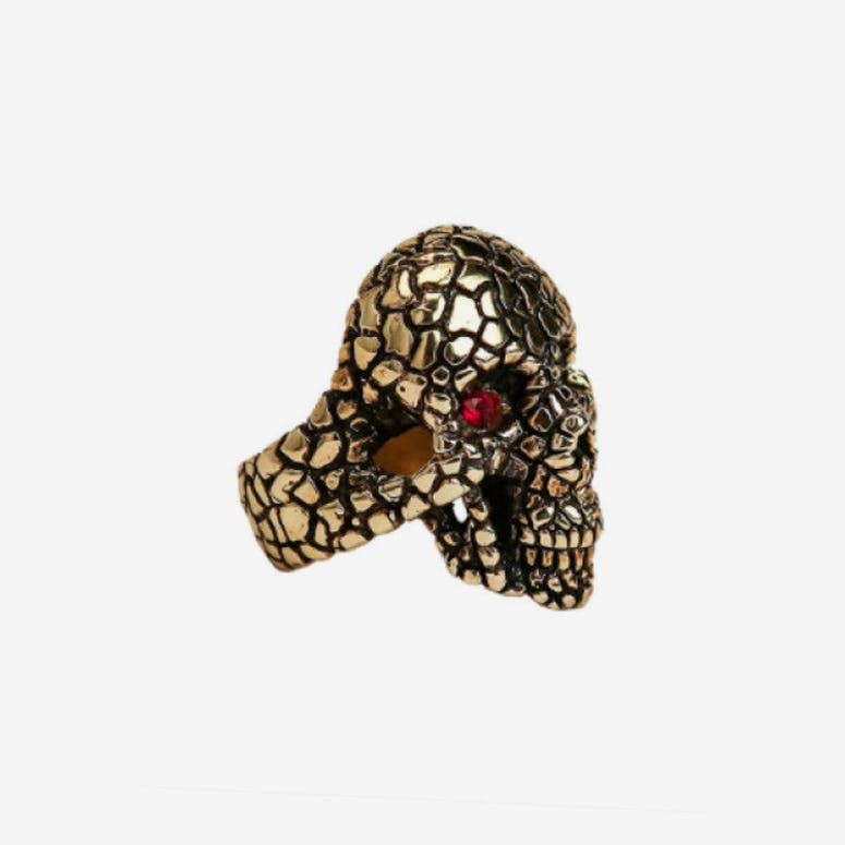 Nugget Skull Ring Gold