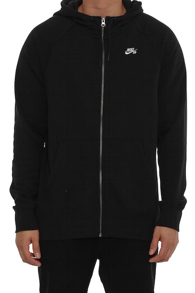 Icon Full-zip Hood Black/white
