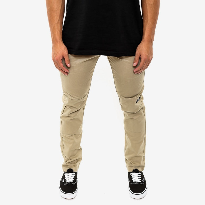 Double Knee Skinny Slim Khaki