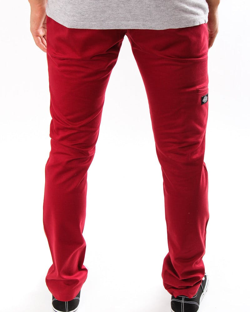 Double Knee Skinny Slim Maroon