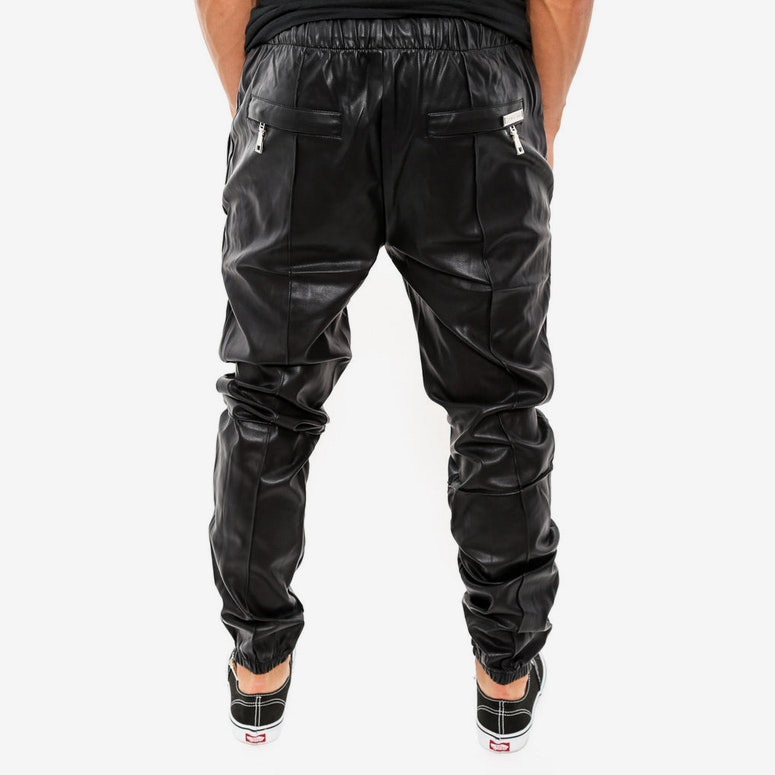 Leather Jogging Suit Pant Black