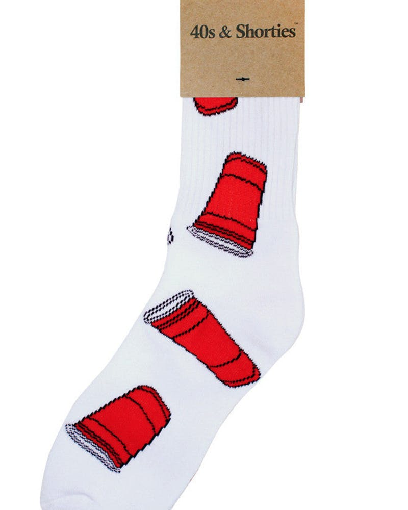 Red Cups Sock White