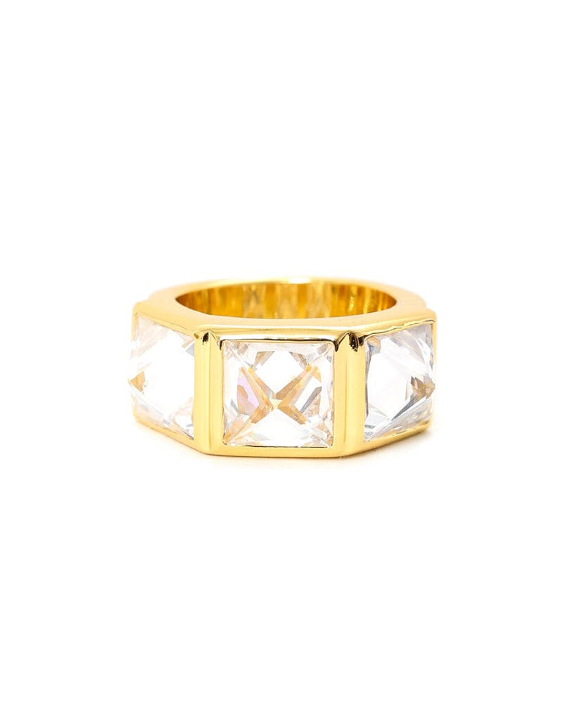 Crystal Spike Ring Gold/white