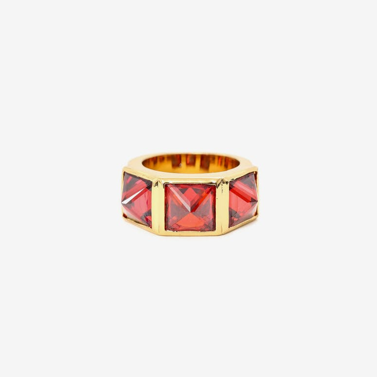 Crystal Spike Ring Gold/red