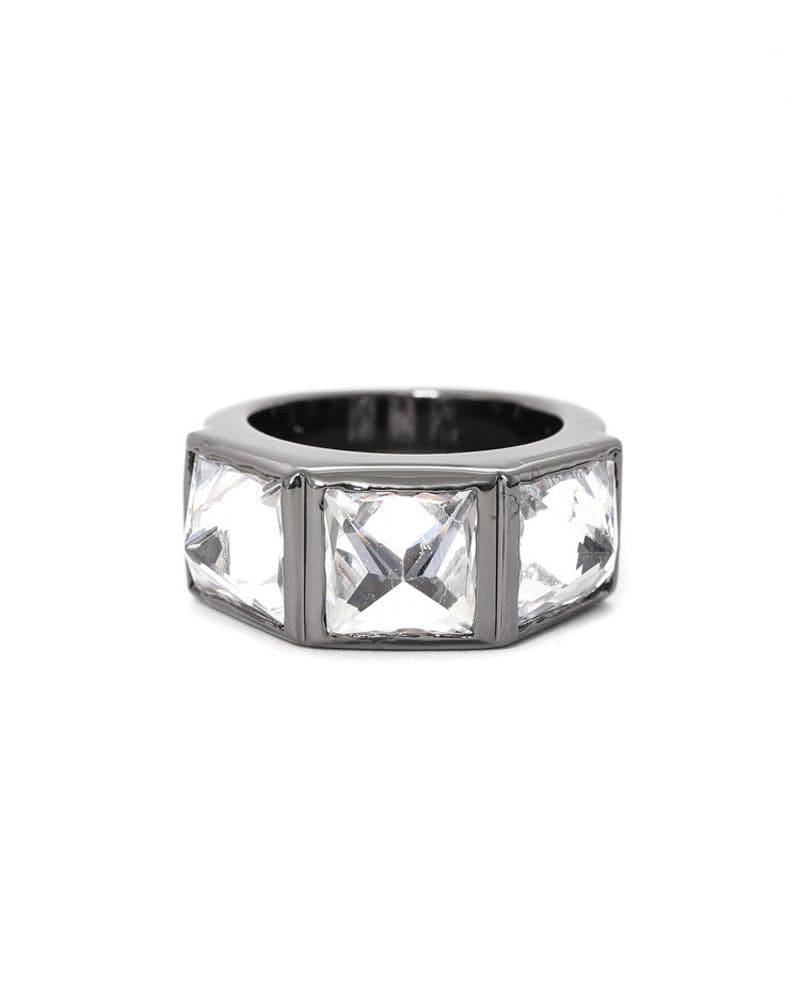 Crystal Spike Ring Gunmetal/white