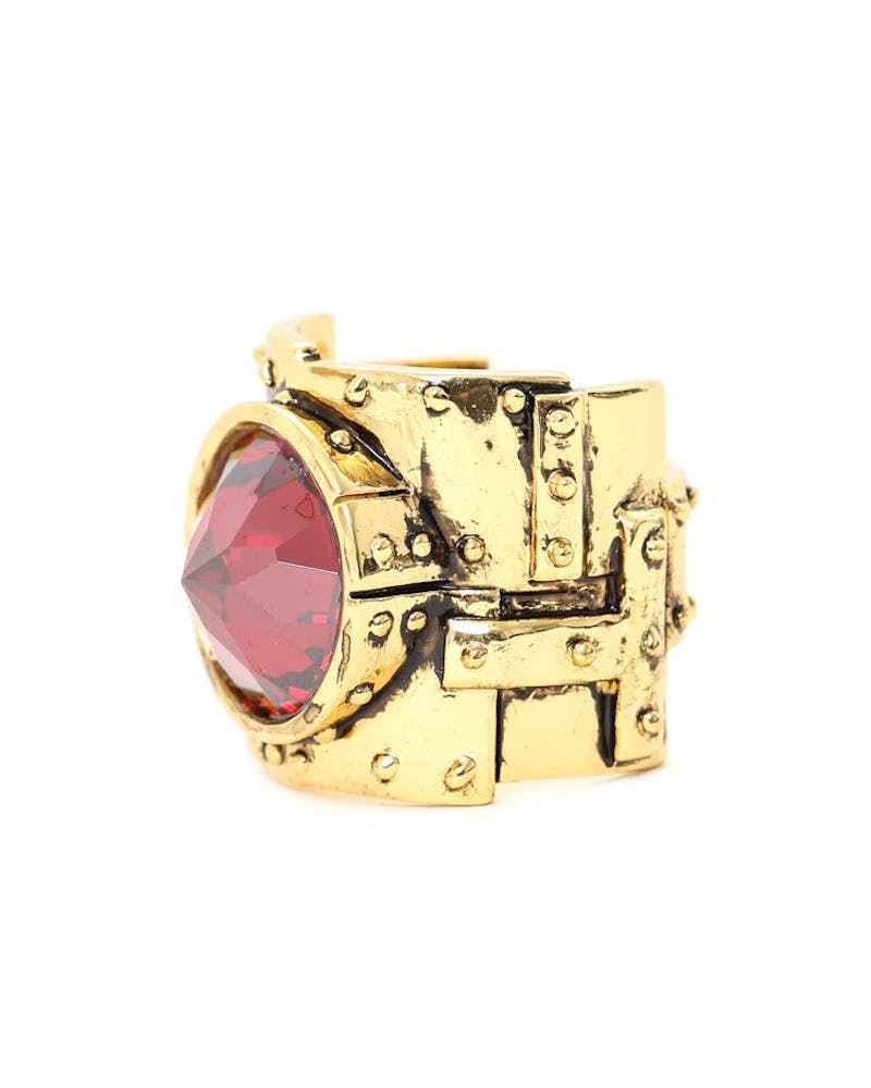 Heavy Metal Ring Gold/red