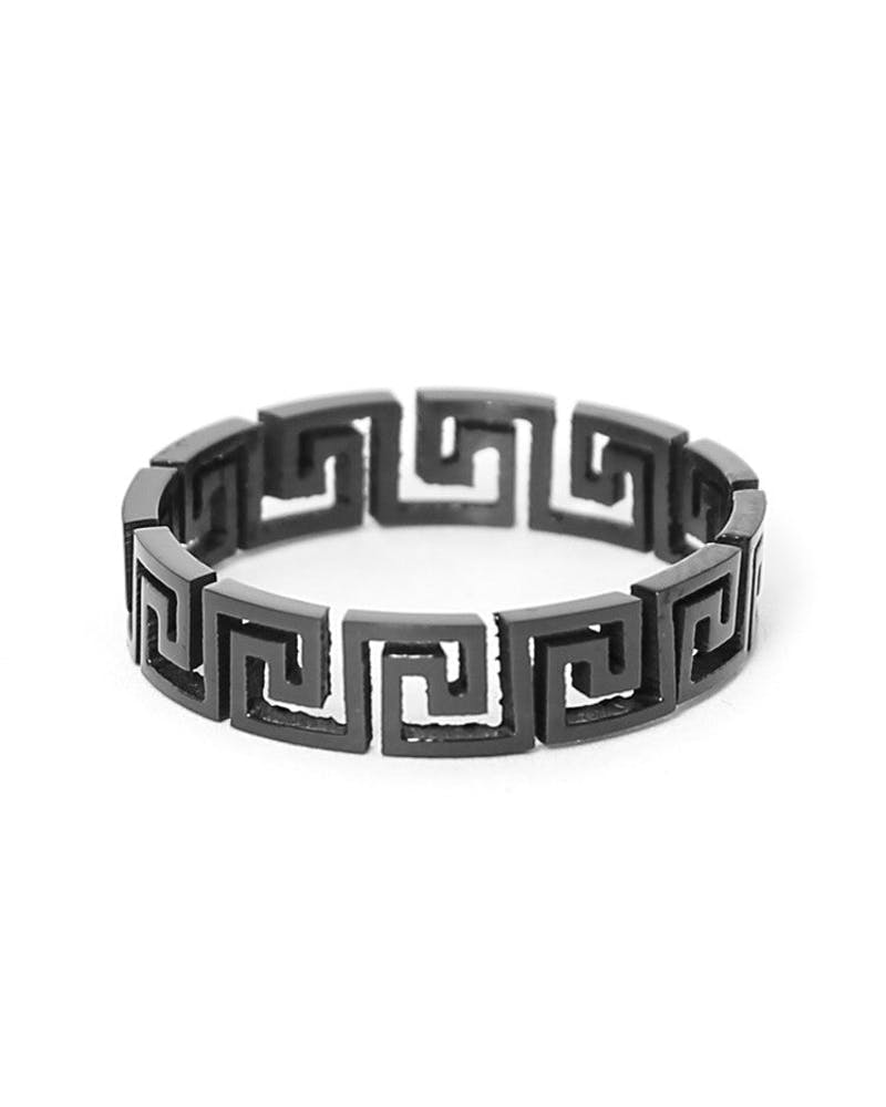 Greek Cut-out Ring Black