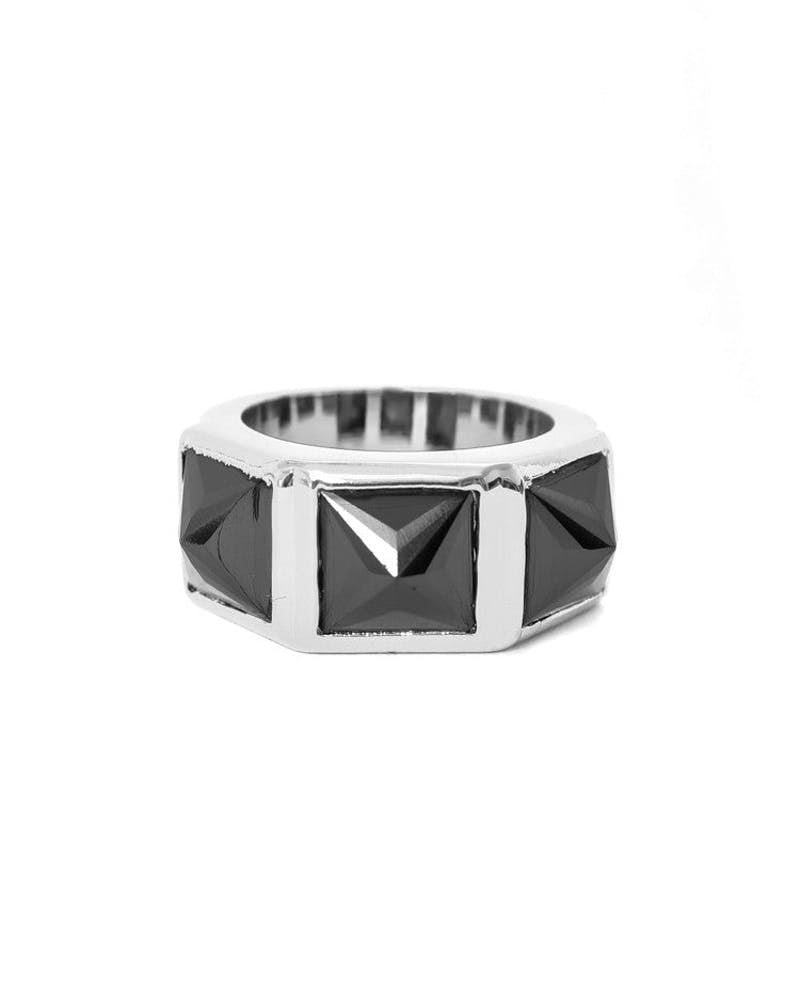 Crystal Spike Ring Silver/black