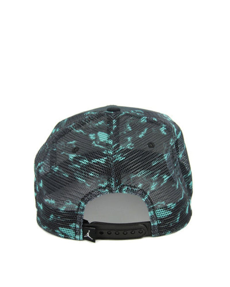 Cloud Camo Trucker Snapback Black/turquoise