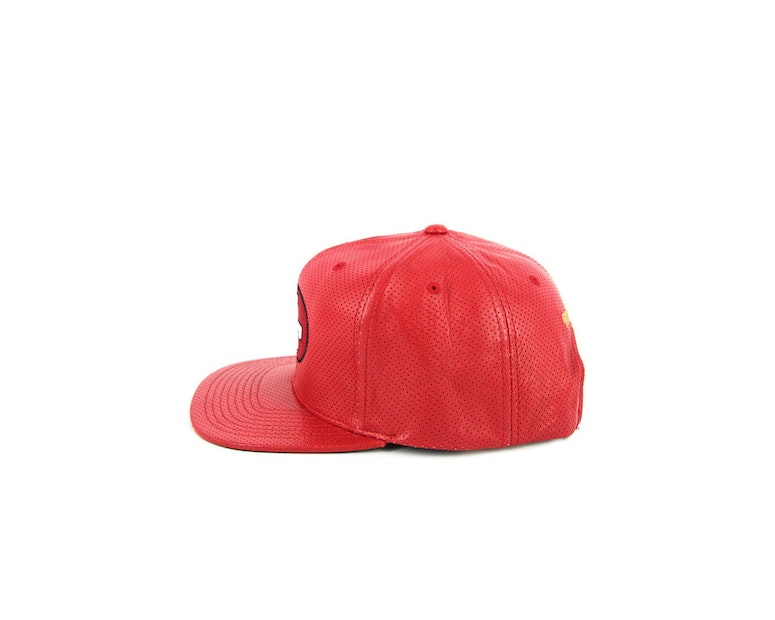 49ers Perforated Leather Snapback Red
