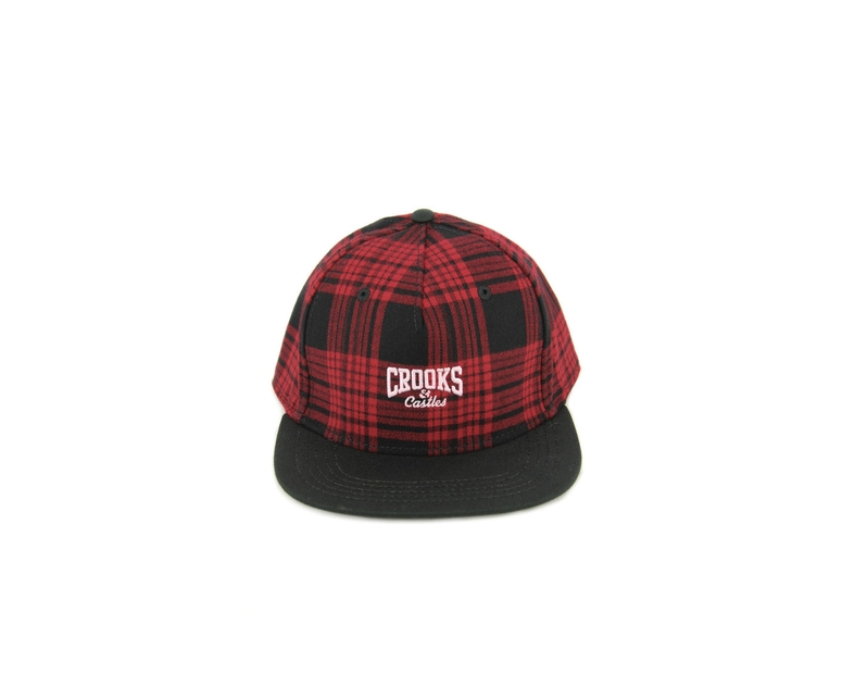 Core Logo Plaid Snapback Red/black
