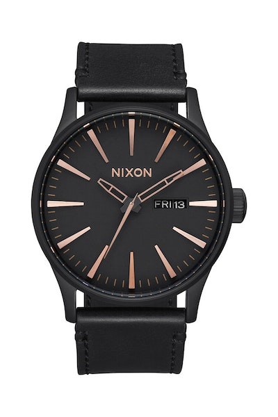 Sentry Leather Black/rose Gold
