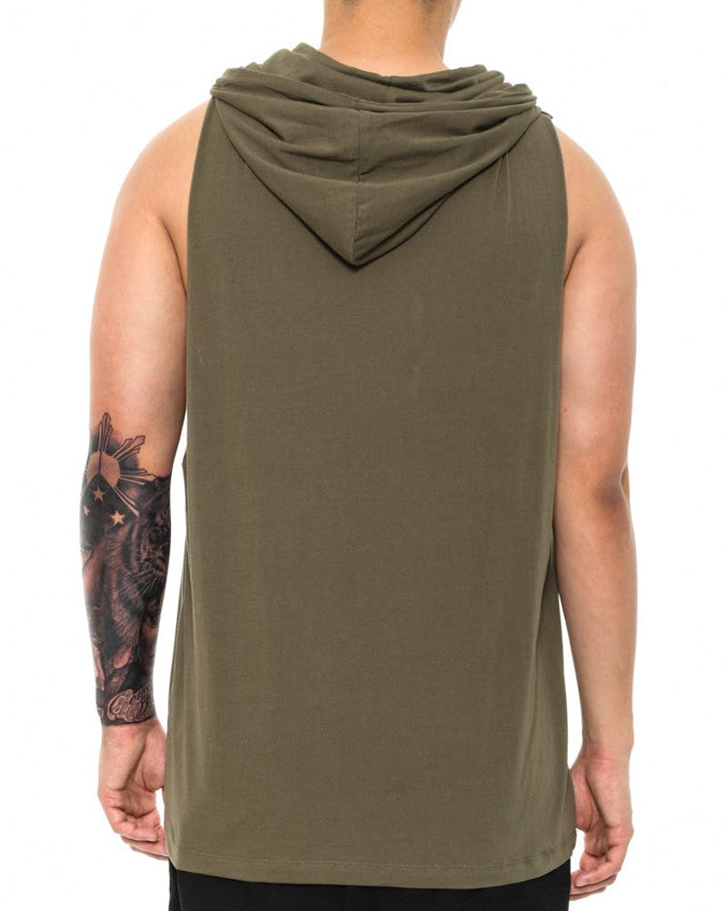 Cahill + Empire Hooded Muscle Tee Olive