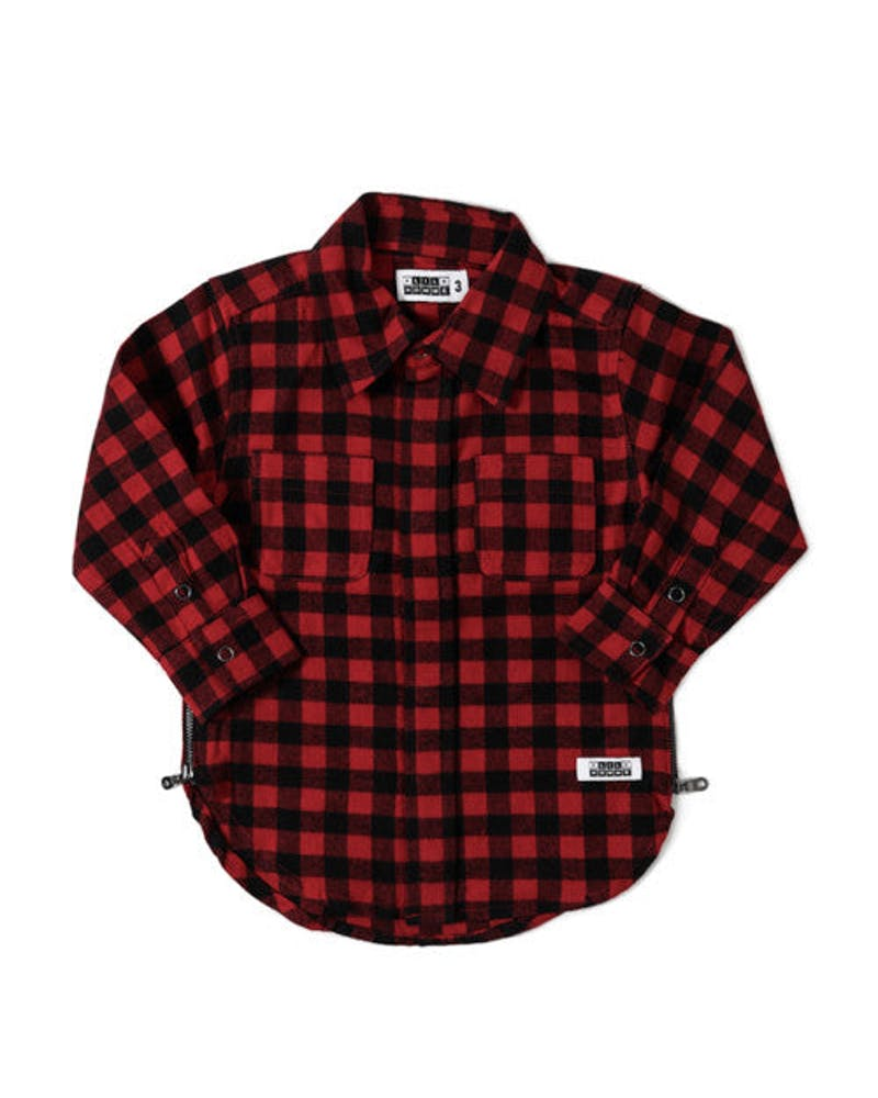 Checkard Black Zip Long Sleeve Shirt Red/black