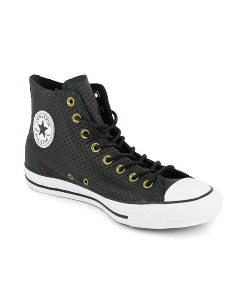 Chuck Taylor Perforated Leather HI Black/white