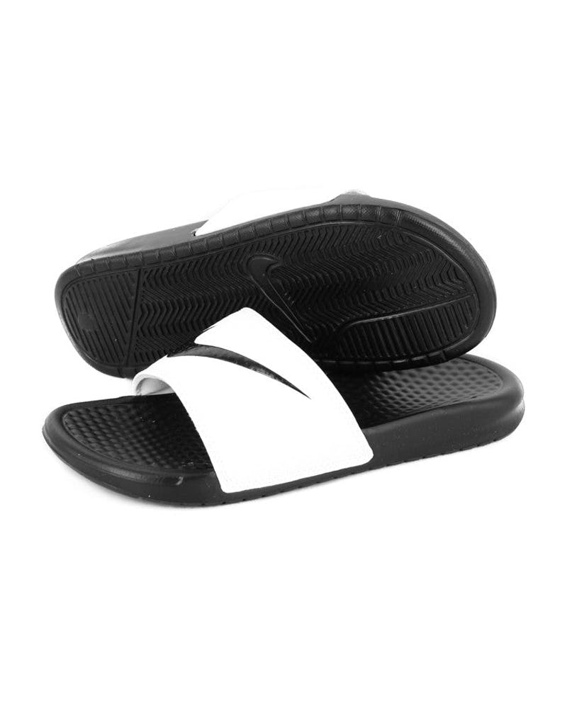 Womens Benassi Swoosh White/black/bla
