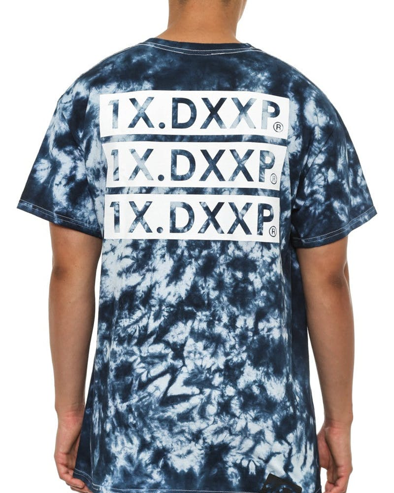 Triple Box Tie Dye Tee Navy