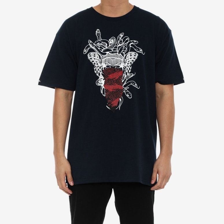 Medusa Speckle Tiger Tee Navy