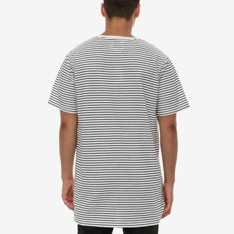 Striped Drop Hem Tee White