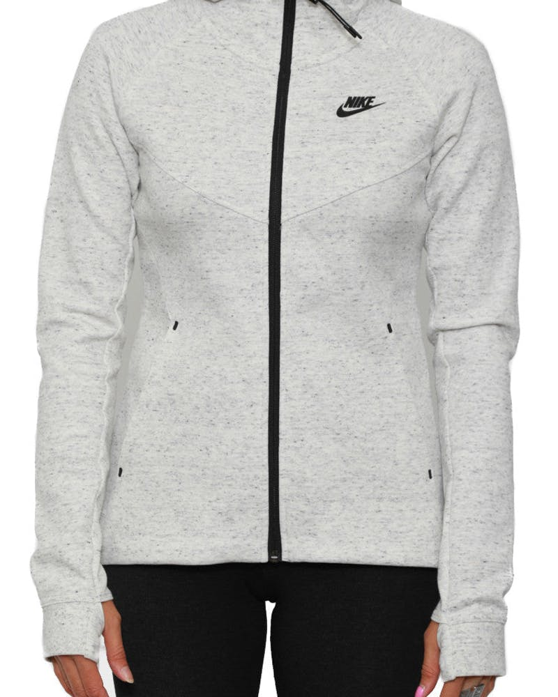 Womens Tech Fleece FZ Hood White/grey/blac