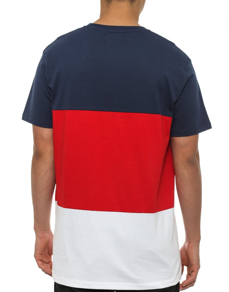 Tones Panel T Shirt Navy/red/white