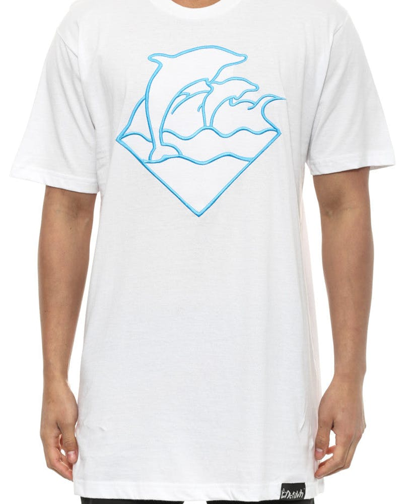 Embroidered Waves Tee White