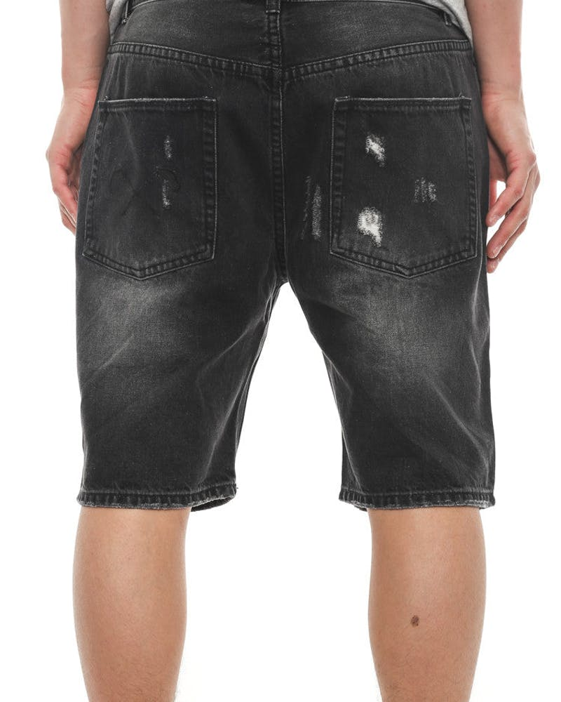 Consumed Denim Shorts Black