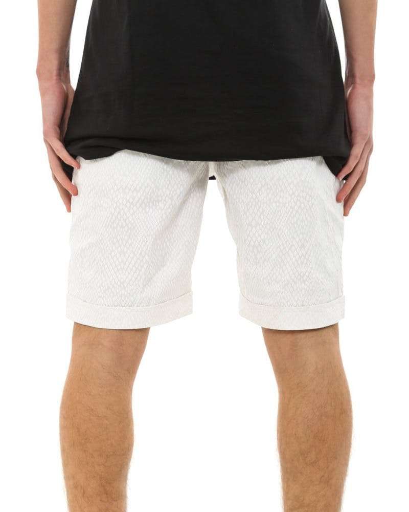 Spokane Snake Skin Shorts White