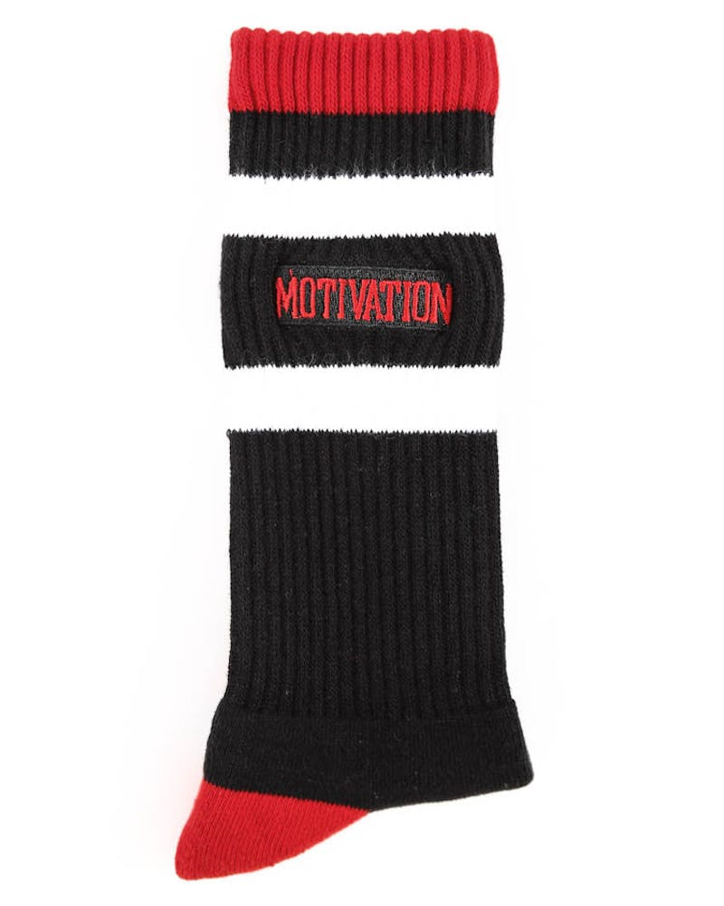 Split Logo Socks Black/red