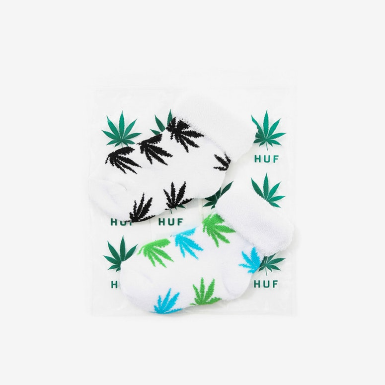 Huf Seeds Socks 2pack White/Blue/Green