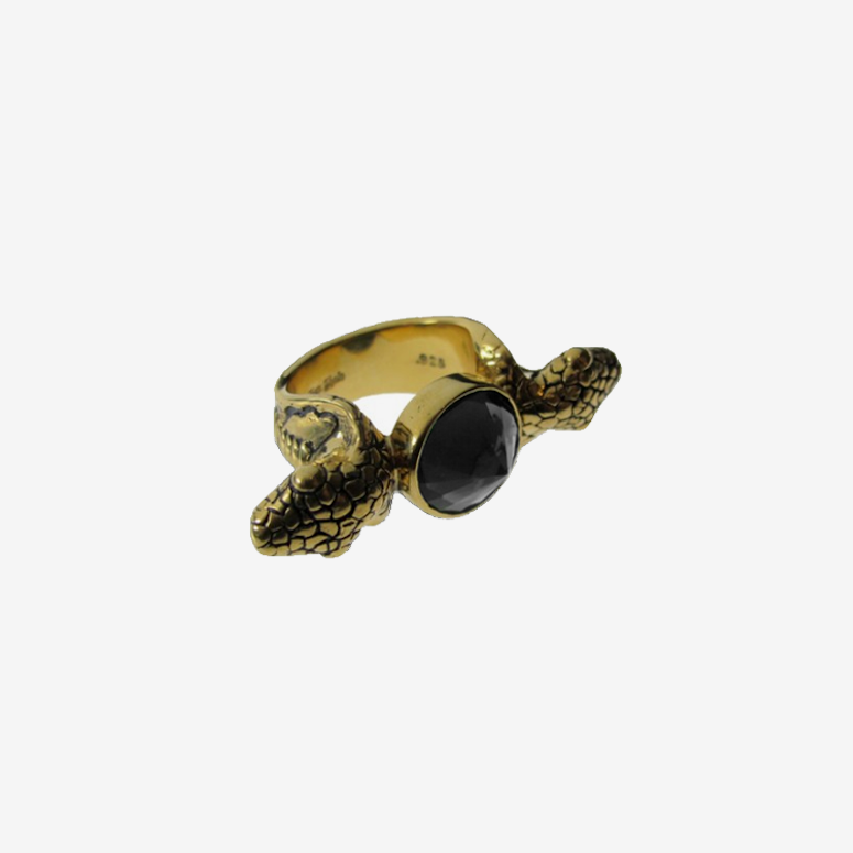 Snake Ring W/colour Stone Gold