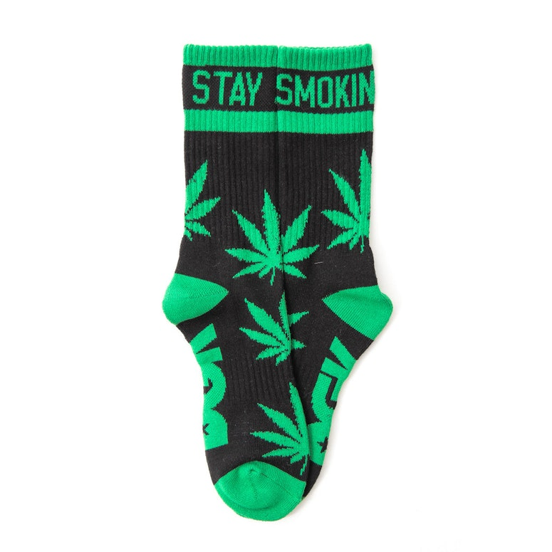 Stay Smoking Crew Sock Black